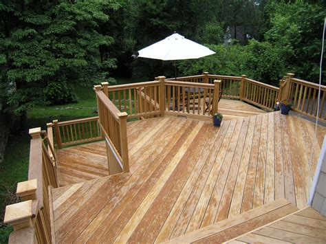 natural wood deck completed custom decks  fairfield county connecticut westchester