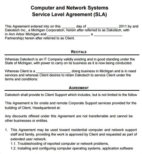 service agreement templates sample templates