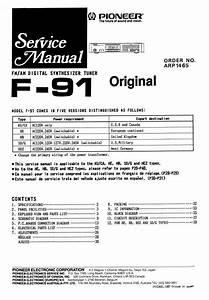 Pioneer F-91 Tuner   Original Service Manual
