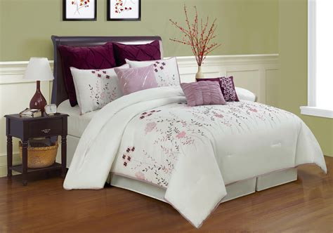 9 piece queen lucern purple and pink embroidered comforter
