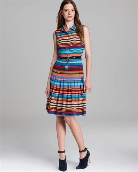 striped sleeveless shirt dress lyst calvin klein striped belted shirt dress sleeveless