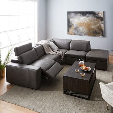 enzo leather reclining  seater sectional  storage