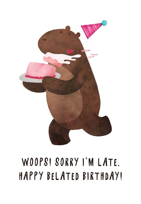 belated birthday bear birthday card