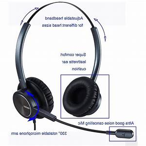 Desk Telephone Headset Call Center Noise Cancelling Home