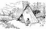 Coloring Pages Indian Pee Tee Cherokee Tipis Sketch Template sketch template
