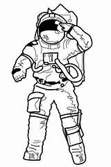 Astronaut Coloring Salute Drawing Going Pages Making Mission Before Print Apollo Line Suit Printable Clipart Cliparts Space Astronauts Clip Rocket sketch template