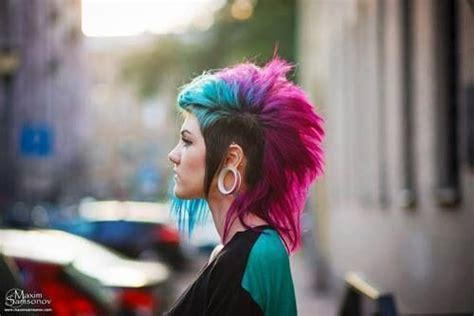 Beautiful Pink, Blue And Brown Punk Hair.