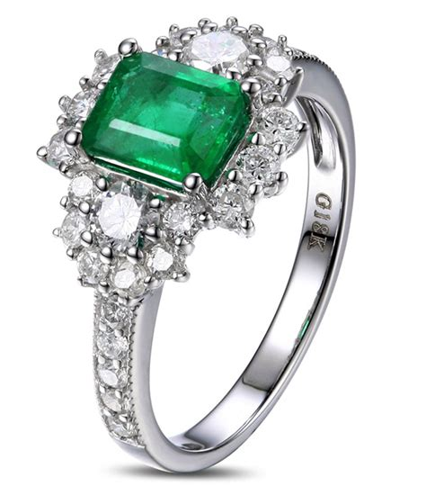 2 carat beautiful emerald and diamond engagement ring for women in white gold jeenjewels
