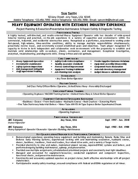 Heavy Equipment Operator Skills Resume by Equipment Operator Resume Exle