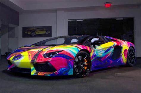 rainbow cars lamborghini aventador art car features every color of the