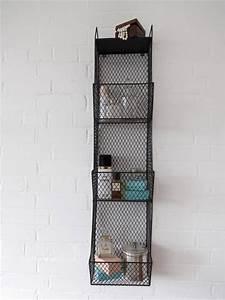 bathroom metal wall wire rack storage shelf black With metal bathroom shelving unit