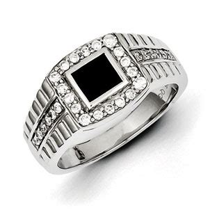 mens black onyx  carat diamond ring  sterling silver