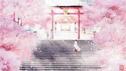 Cherry Blossom Anime Blossoms Wallpapers Scenery Japanese