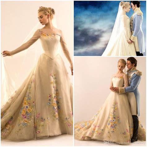 Discount 2015 Wedding Dress Lily James Cinderella Wedding Dresses Sheer Bateau Neck Long Sleeve