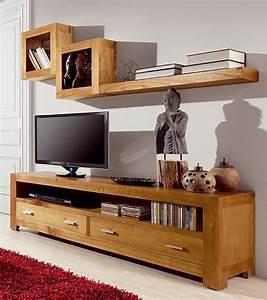 Meuble Tv Avec Etagere : meuble tv l 160 cm en mindi massif kiruna ~ Teatrodelosmanantiales.com Idées de Décoration