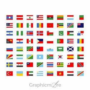 64 Simple National Flag Icons Set Design Free PSD Download