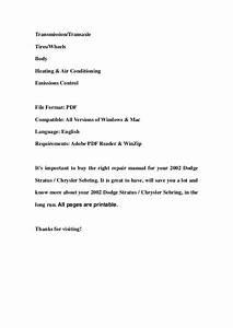 2002 Dodge Stratus Chrysler Sebring Service Repair Manual