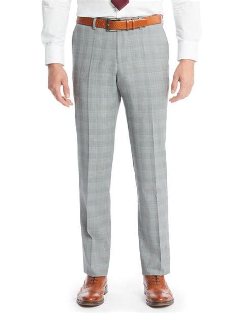mens light grey dress pants men 39 s grey light blue prince of wales check slim fit