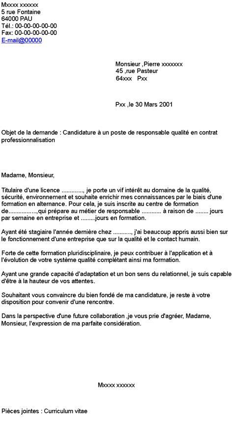 contrat de professionnalisation cuisine candidature à un poste de responsable qualité en contrat professionnalisation