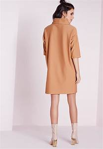 Missguided Roll Neck Ribbed Jumper Dress Camel in Natural | Lyst