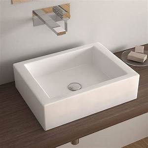 vasque a poser rectangulaire 50x38 cm ceramique pure With vasque salle de bain rectangulaire a poser