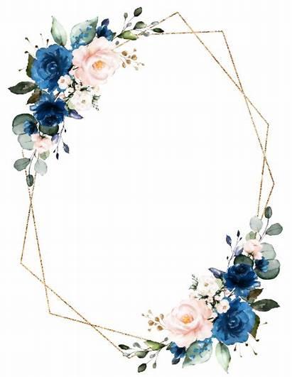 Blush Navy Floral Zazzle Geometric Romantic Card