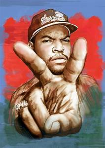 Ice Cube - Stylised Drawing Art Poster Drawing by Kim Wang