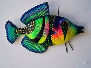 fish art wall decor colorful fish sculpture With fish wall decor