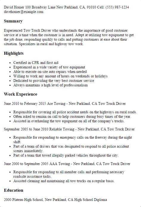 tow truck driver resume templates