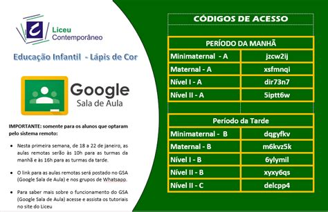 Códigos de acesso do Google Sala de aula Educação Infantil ...