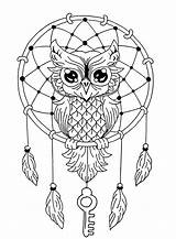 Dreamcatcher Owl Coloring Owls Cute Own Pages Adult Animals Nature sketch template
