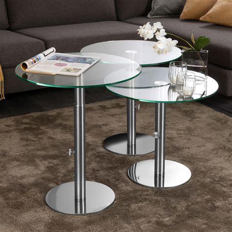 designer beistelltisch glas ebinger glas beistelltisch edelstahl h 246 henverstellbar 48 5 65 cm