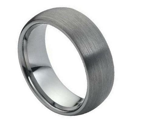 tungsten carbide wedding band ring 8mm with dome brushed