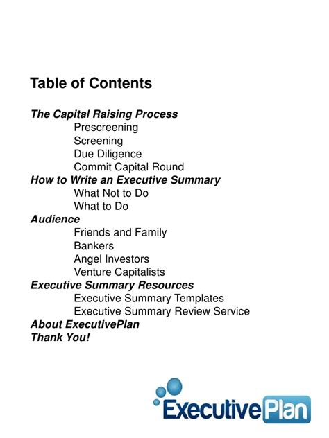 What Do You Write In The Summary Of A Resume by How To Write A Business Plan Executive Summary Ebook