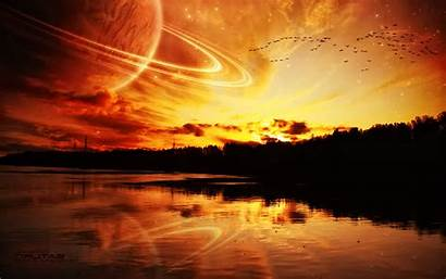 Planet Sunset Wallpapers Planetary Rings Desktop Backgrounds