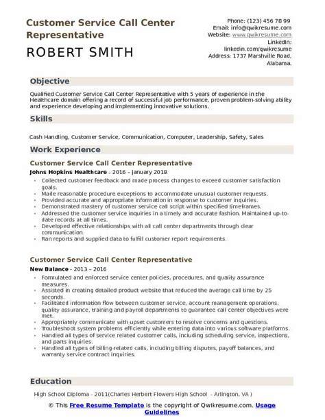 Customer Service Representative Call Center Resume by Customer Service Call Center Representative Resume Sles