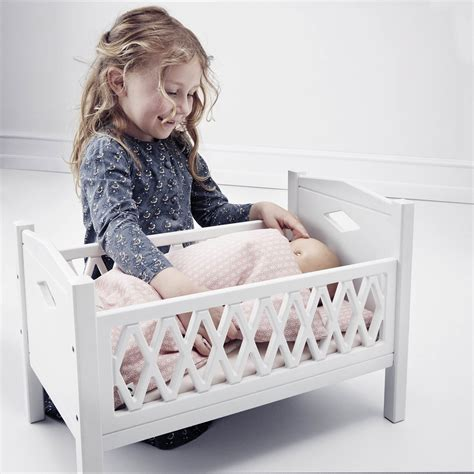 25924 baby doll bed leo doll cot bed harlequin white