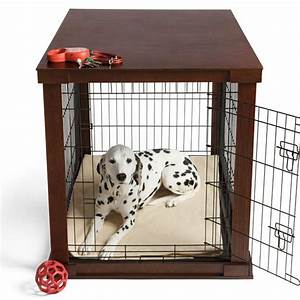 This wood dog crate is beautifully finished to look like for Big dog kennels for inside