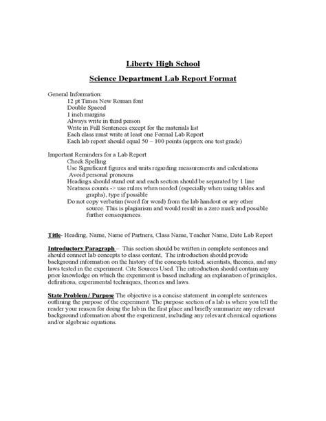 lab report format liberty high school