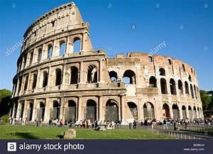 Italy Rome Lazio Tourists Outside Roman Colosseum Built By