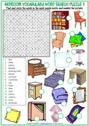 bedroom objects esl printable vocabulary worksheets