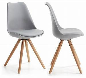 Lot de 2 chaises design ralf wood couleur gris for Chaises de salle à manger design