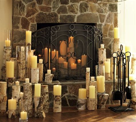 candles inside fireplace christmas candle decor