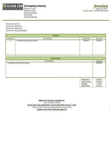 service invoice templates billing  word  excel