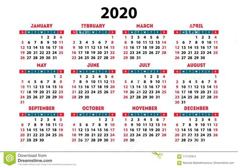 calendar vector pocket basic grid simple design template stock