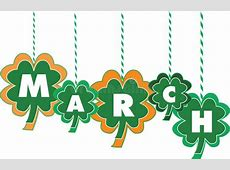 Month Of March Text Within Shamrocks Stock Vector