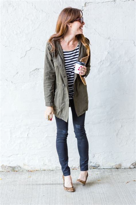 A Fall Outfit Pairing The Army Green Outfit and Stripes by Art in the Find army-green-jacket ...