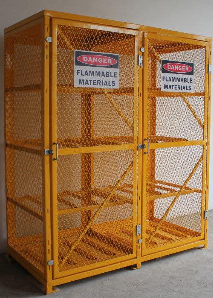 shelves compressed gas cylinder storage cabinets   warning label