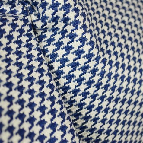D2922 Houndstooth Navy Blue Fabric   Traditional   Drapery
