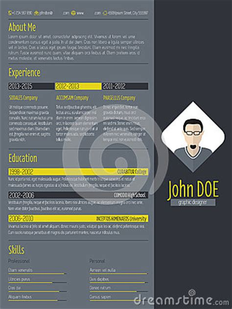 modern curriculum vitae resume  dark background stock
